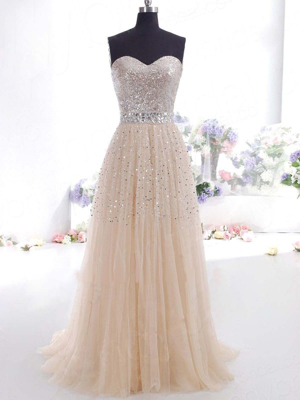 Floor-Length A-Line/Princess Sweetheart Sleeveless Other Tulle Dresses