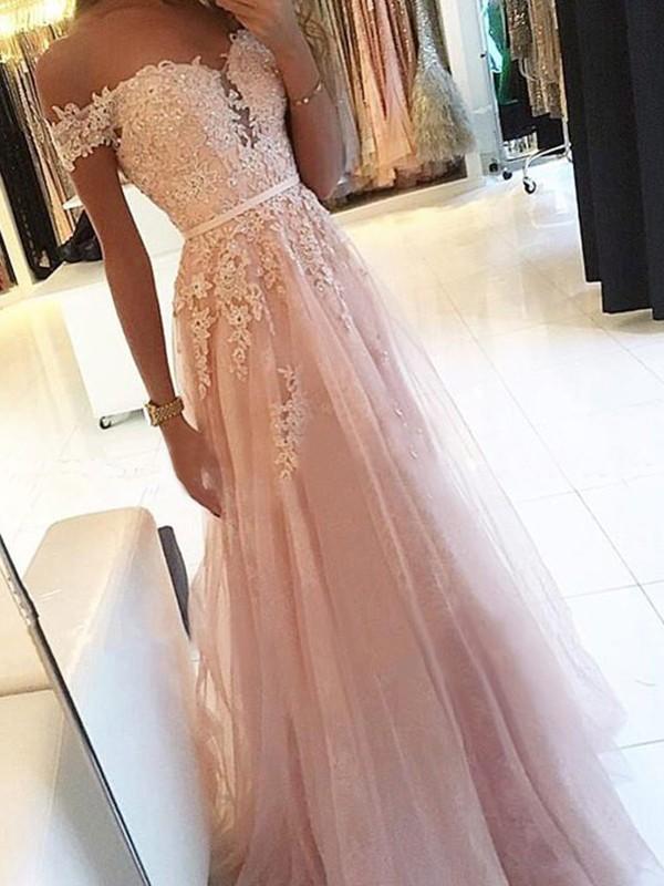 Floor-Length A-Line/Princess Off-the-Shoulder Sleeveless Tulle Dresses