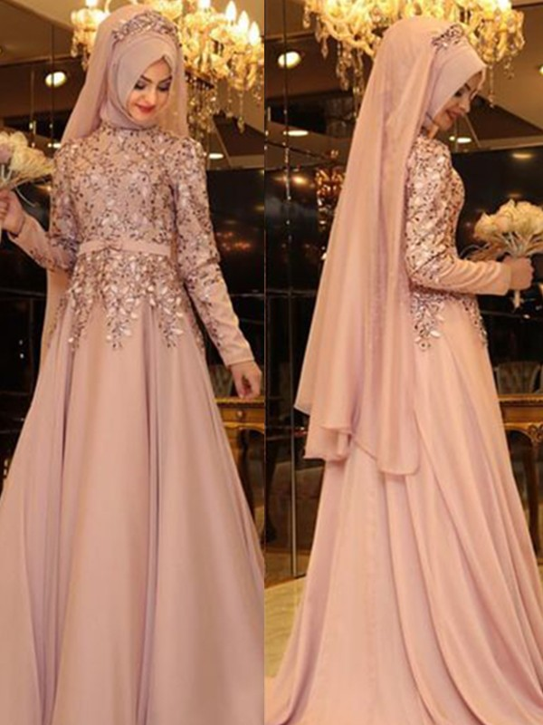 Floor-Length A-Line/Princess High Neck Long Sleeves Chiffon Dresses