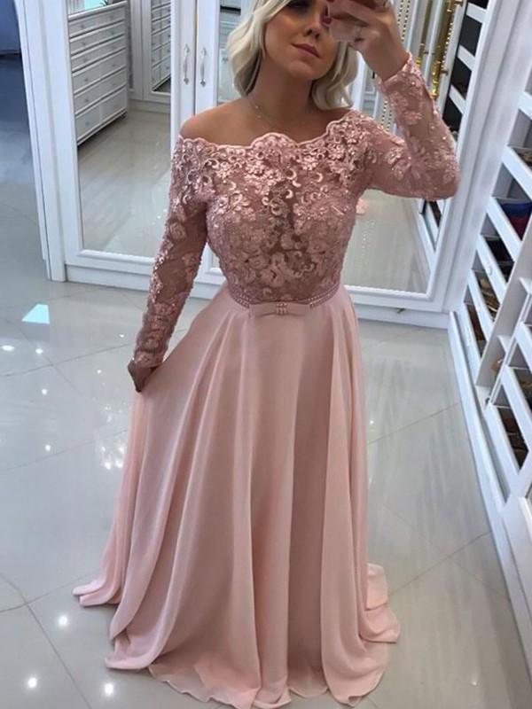 Floor-Length A-Line/Princess Bateau Long Sleeves Chiffon Dresses