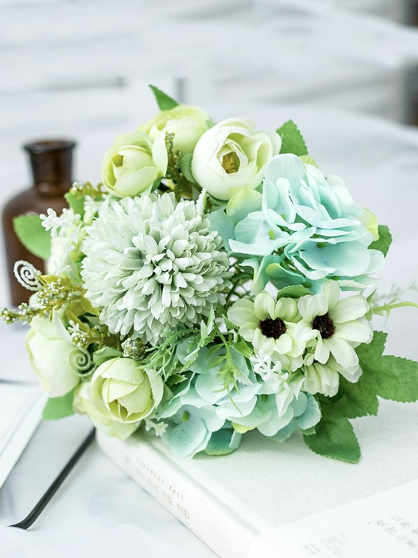 Fancy Free-Form Silk Flower Bridal Bouquets
