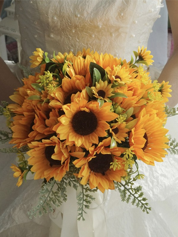 Lovely Free-Form Silk Flower Bridal Bouquets