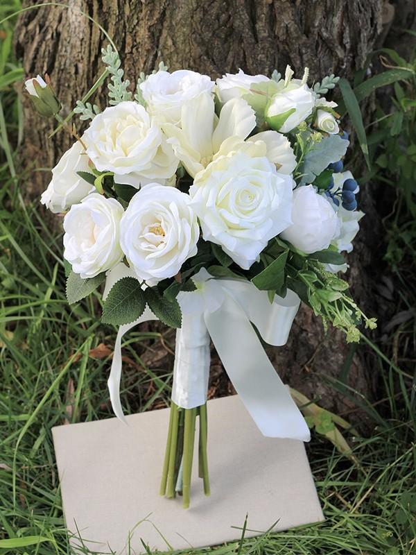 Free-Form Pure Silk Flower Bridal Bouquets