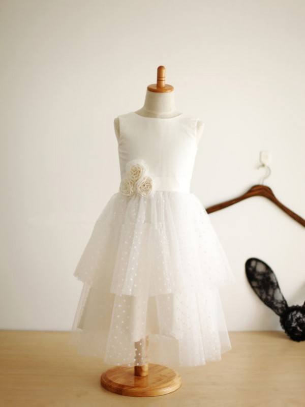 Tea-Length A-Line/Princess Jewel Sleeveless Hand-Made Flower Tulle Dresses