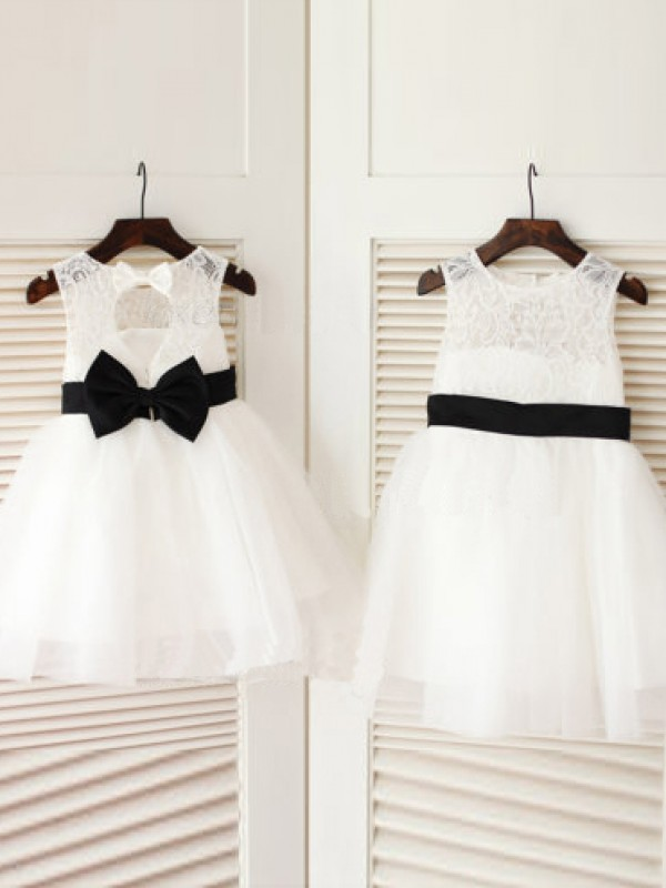 Knee-Length A-Line/Princess Scoop Sleeveless Bowknot Tulle Dresses