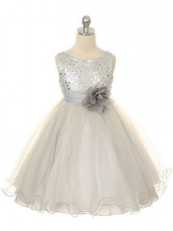 Tea-Length Ball Gown Jewel Sleeveless Hand-Made Flower Tulle Dresses