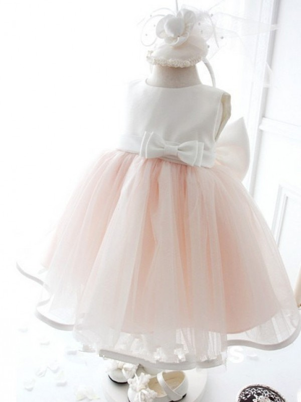 Knee-Length Ball Gown Jewel Sleeveless Bowknot Organza Dresses