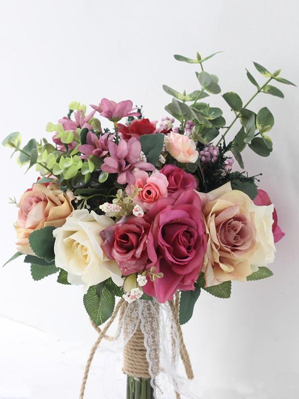 Pretty Free-Form Silk/Cloth Bridal Bouquets