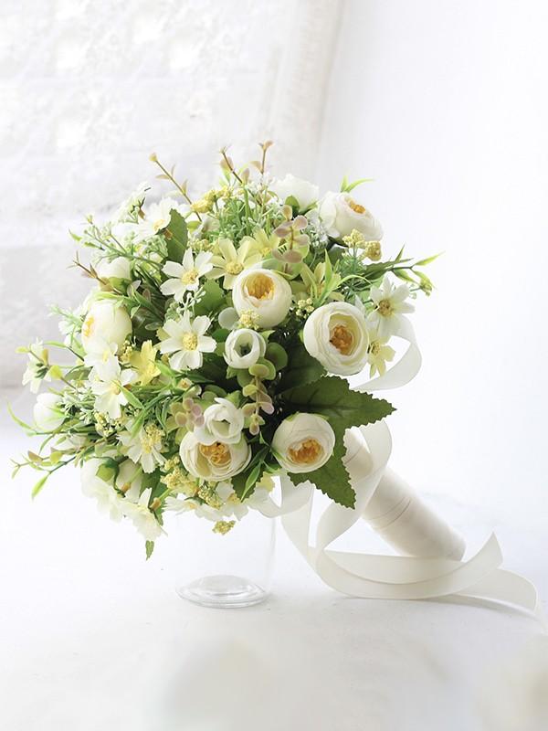 Cute Free-Form Silk Flower Bridal Bouquets