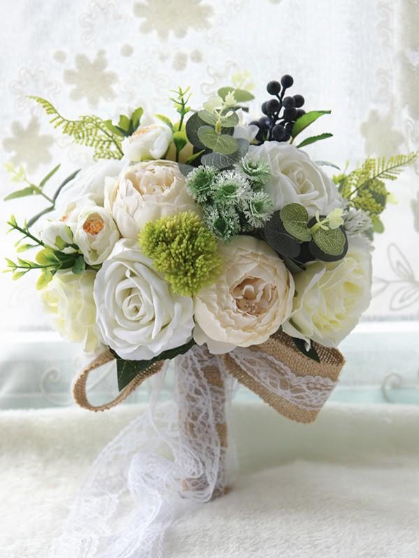 Attractive Round Silk Flower Bridal Bouquets