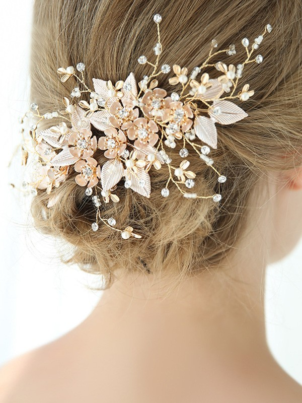 Graceful With Flower Alloy Headpieces