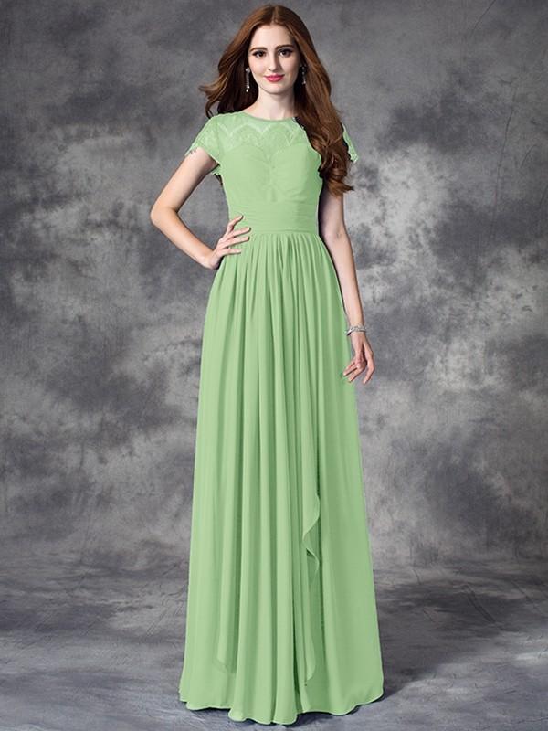Floor Length A Lineprincess Bateau Sleeveless Lace Chiffon Bridesmaid Dresses