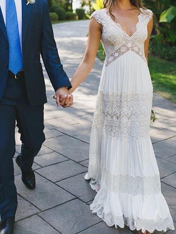Floor Length A Line Princess V Neck Lace Wedding Dresses Miagal